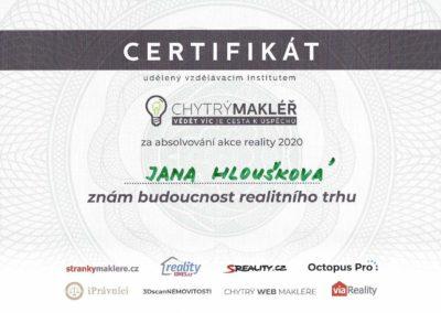 Jana Hloušková - certifikát realitní makléřka Hloušek reality