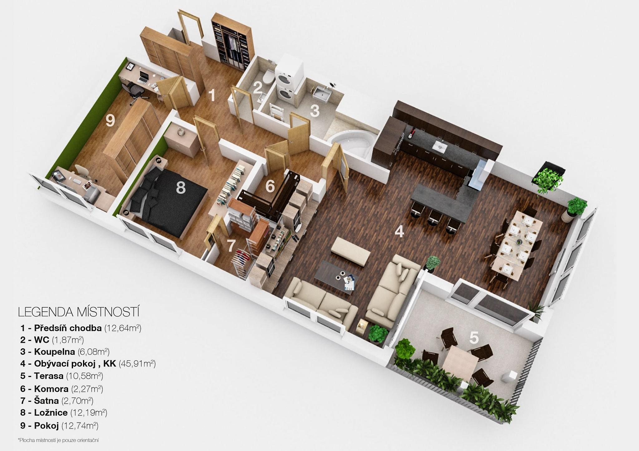 Půdorys bytu na Jižním Městě - Jana Hloušková