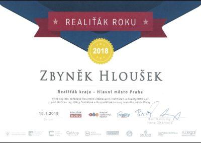 Ing. Zbyněk Hloušek - REALIŤÁK ROKU 2018 nejlepší v Praze