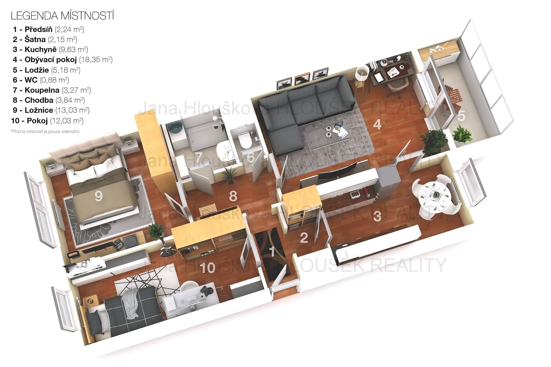 Prodej bytu 3+1/L, ul. Matuškova, Praha 4 - Háje, Jana Hloušková